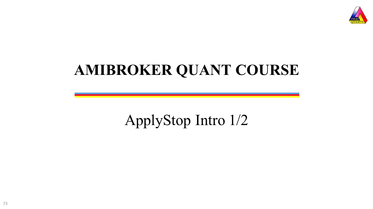 AmiBroker ApplyStop Introduction Training Videos
