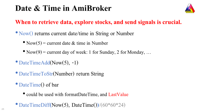 Date and Time Functions in AmiBroker